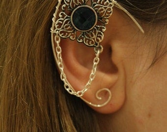 Elvish earring • ear cuff • elvish ear - BLACK