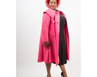 1950s wool coat / Vintage bright pink A line coat with cape collar AS IS