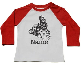 3rd Birthday Raglan Sleeve Birthday Shirt - Custom Number Personalized Vintage Train Tshirt - Train Museum Birthday Party - 40th Birthday