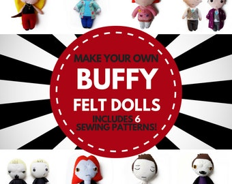 Make your own Buffy the Vampire Slayer dolls! // 6 patterns, 10 variations // PDF patterns // Buffy Xander Willow Giles Spike Angel