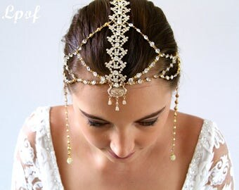 Bridal Head Chain Weddings Bridal Headpiece Headpiece Wedding Headpiece Hair Jewelry Head Chain Head Jewelry Hair Piece Taila Gold Mrk 11