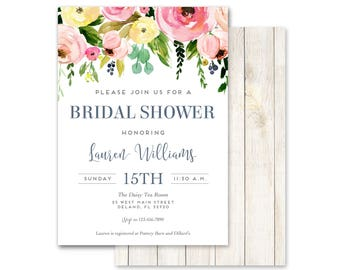 Watercolor Bridal Shower Invitations, Wedding Shower Invitations, Floral Invitations