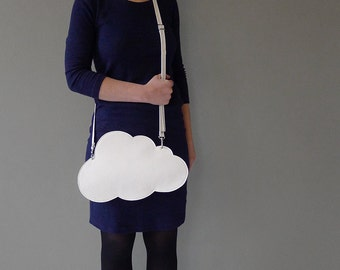 Cloud clutch / cloud purse - grained white leather - by Marieke Jacobs
