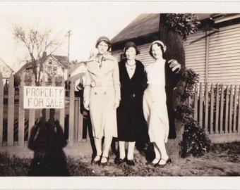 Property For Sale- 1930s Vintage Photograph- Pretty Women- Best Friends- Funny Snapshot- Found Photo- 30s Fashion- Paper Ephemera