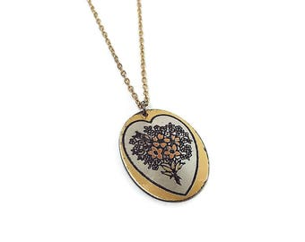Vintage Flower Pendant Two Tone Reed and Barton Damascene Mid Century Floral Jewelry
