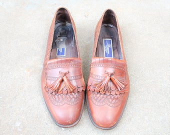 Vintage Mens 13d Bragano by Cole Haan Italian Slip on Loafers Wingtips Oxfords Woven Braided Brown Leather Wedding Suit Dress Shoes