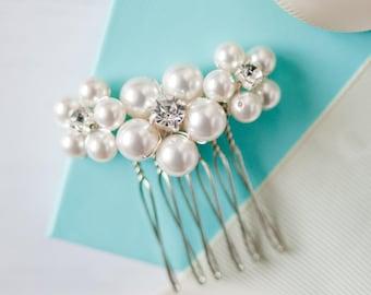Pearl Flower Comb, Wedding Comb, Bridal Comb, Flower Comb, Pearl Wedding Accessories, Flower Hair Comb, Flower Hair Slide,