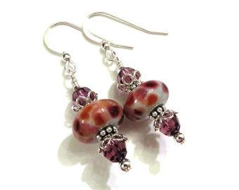 Purple & Pink Lampwork Earrings With Purple Swarovski Crystals, Purple Earrings, Pink Earrings, Crystal Earrings, Lampwork Earrings