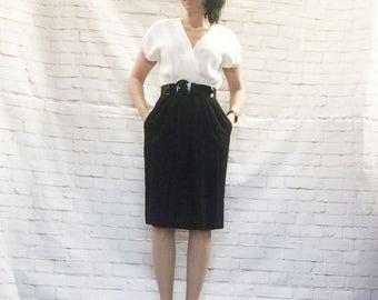 Vintage 80s Black White Menswear Surplice Office Dress Color Block Pockets Patent Wide Belt Knee Length S M