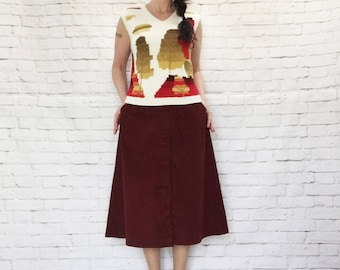 Vintage 70s Ombre Trees Novelty Print Knit Sweater Vest M Soft Gradient Red Yellow Brown V-Neck Arpeja