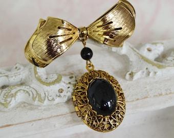 Vintage Locket Brooch in Gold Tone Metal with Black Plastic Beads