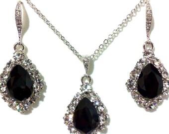 Black Bridal Jewelry Set, Gothic Wedding Earrings, Swarovski Crystal Teardrop Necklace, Dangle Bridesmaid Earrings, Gift for Her, BIJOUX