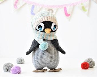 PATTERN - Pompom hat penguin - crochet pattern, amigurumi pattern, PDF