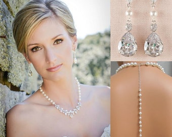 Backdrop Bridal Necklace, Wedding back drop Necklace, Crystal and Pearl Bridal Earrings, Wedding Earrings, Bridal Jewelry, Claire Necklace