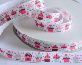 "Cupcakes Grosgrain Ribbon 5 yards of 7/8"" Pink Mint and Brown Cupcakes & Hearts Print Ribbon for Sewing Hair Bows Birthday Party Favor Ties"