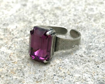 Swarovski Amethyst Ring, February Birthstone Ring, Purple Rectangle Octagon Emerald Cut Ring