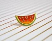 Vintage Watermelon Pin - Enamel Pin - Vintage Lapel Pin - Cloisonné Pin - Pin Game - Fruit Pin - Tie Pin - Pin Badge - Hard Enamel Pin