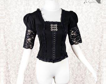 Blouse Victorian, Steampunk, romantic goth shirt, black, Devota, Somnia Romantica, approx size small see item details for measurements