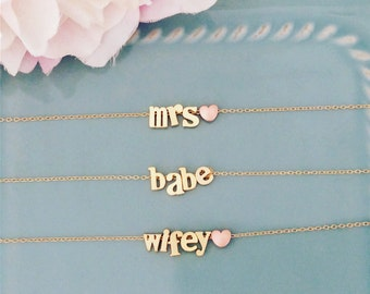 Personalized Gift, name necklace, Gold Necklace, best seller, mrs necklace, wifey necklace, babe necklace, shower gift, bridal gift birthday