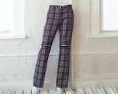 Purple Plaid Jeans 90s Vintage Lip Service Small Medium Punk Bondage Pants Goth Rave Glam Rock Club Kid Green Black Plaid Fetish Trousers