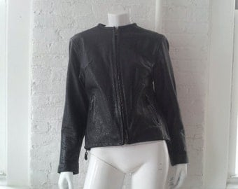 Black Leather Motorcycle Jacket 80s Vintage Moto Jacket 70s Cafe Racer Women's Large XL Mod Biker Jacket Minimalist Cafe Collar Jacket