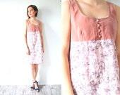 Vintage pink velvet floral summer dress // Small sleeveless tank top dress // spring orange picnic dress // boho summer hippie festival