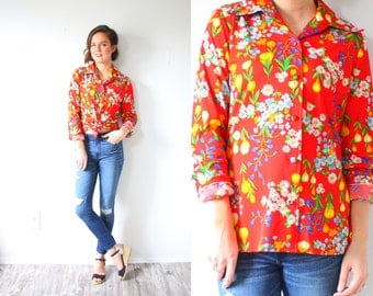 Vintage boho red floral blouse // summer blouse // long sleeve top // silky summer shirt // floral blouse // floral shirt retro 80's summer