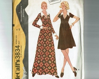1970s dress Bust 40 Size 18 long Maxi or knee length high waisted Dress with Collar Vintage Sewing Pattern McCalls 3834 1970s Pounds thinner