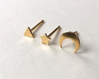 Mismatched Ear Stud Set - Tiny Gold Stud Earrings, Triangle Earrings, Star Ear Studs, Moon Ear Studs, Mismatched Earrings, Small Earrings