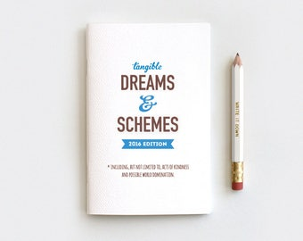 Notebook Gifts Under 10, Tangible Dreams and Schemes 2017 Edition Notebook Journal & Pencil Set - 7 Colors - 2016 Planner, Stocking Stuffer