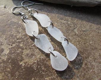 SALE Genuine BEACH GLASS Earrings Sea Glass Earrings Dangles