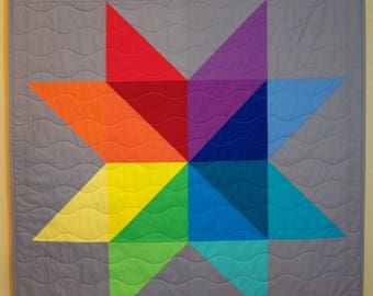 Baby Quilt, Rainbow Quilt, Modern, Star Quilt, Gender Neutral, Boy, Girl, Baby, Blanket, Handmade, Made to Order, Busy Hands Quilts
