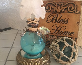 Beautiful Sand Dollar -Seashell Bottle, Designed by - Annalea by the Sea - Crystals - Abalone - Chandelier Crystals - Prisums