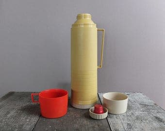 Vintage 1960s Gold & Red Thermos / Vintage Camping Gear