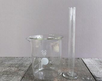 Set of 2 - Vintage Lab Glass Beakers