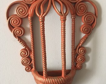 orange planter holder wall hanging sconce burwood products