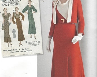Womens 1930s Afternoon Dresses and Jacket Cowl Neckline Simplicity Sewing Pattern 8247 Size 14 16 18 20 22 Bust 36 38 40 42 44 UnCut
