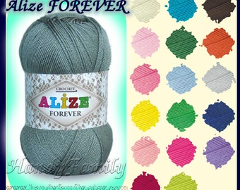 Alize Forever Hypoallergenic yarn. Crochet, lace weight, super fine, 3 ply, size 10 crochet thread, SALE Colour of your choice. DSH