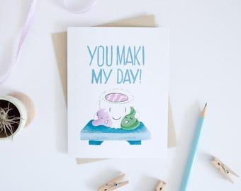 Thank you Sushi Maki Greeting Card - Food Pun