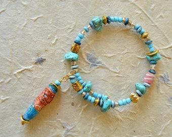 boho hippie beaded bracelet, Tyvek jewellery, hippie jewellery, festival jewellery, turquoise bangle, semi precious stone bracelet