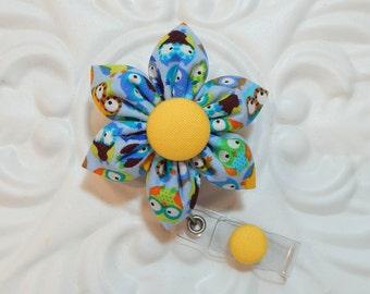 Retractable Badge Holder - Id Badge Reel - Badge Holder - Teacher Lanyard - Nurse Badge Holder - Blue Owls