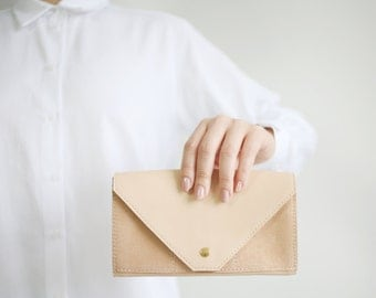 Clutch Wallet Nude /Apricot, Leather Clutch, Secretary Wallet, Big Leather Wallet