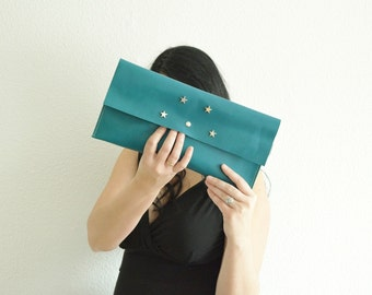 Turquoise clutch,leather handbag,stars clutch,stars handbag,aquamarine bags,leather clutches,leather handbags,aquamarine leather,green bag