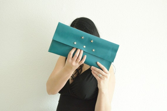 Turquoise clutch,leather handbag,stars clutch,stars handbag,aquamarine bags,leather clutches,leather handbags,aquamarine leather,green bag