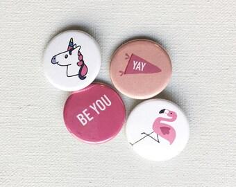 button pin, button badge set : unicorn, flamingo, be you, yay banner