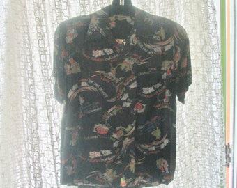 1940s RARE Hawaiian Shirt Lauhala Rayon / Pidgin Text Shirt / Point Collar Graphics Amazing