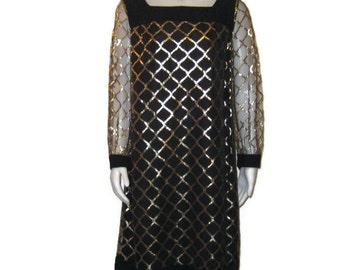 60s Black Dress Black Cocktail Dress Black Gold Dress LBD Short Black Dress 1960s A Line Dress Vintage 60s Party Dress Long Sleeve Dress