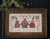 Sew Sisters cross stitch pattern by Plum Street Samplers at thecottageneedle.com Spring Mother's Day daughter sewing