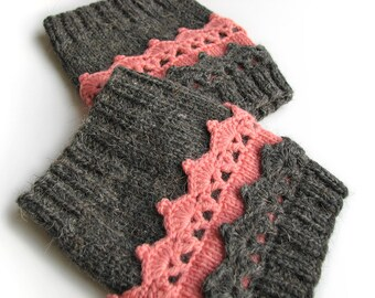 Hand Knitted Openwork Boot Cuffs - Boot Toppers, Leg Warmers - 100% Natural Wool - Winter Cozy Gift