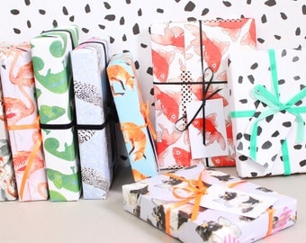 Mixed Eco Wrapping Paper - blank inside - beautifully illustrated gifts - eco friendly stationery - greetings cards - made in the UK